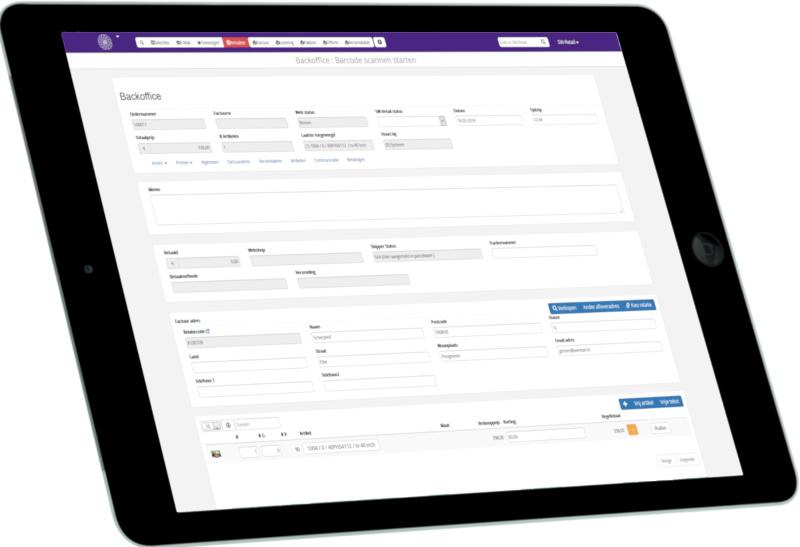 Backoffice op iPad_links