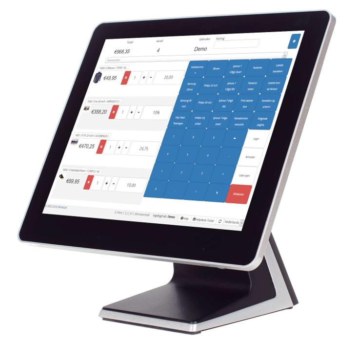 Touchscreen pc met kassasysteem