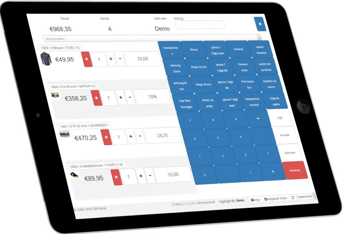 online SW-Retail kassa op iPad