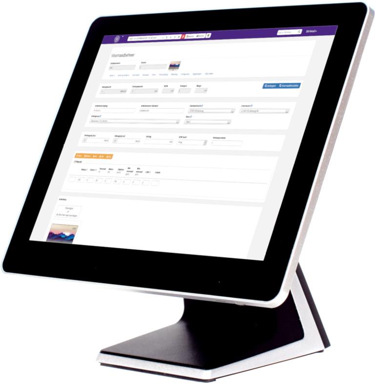 Touchscreen pc met voorraadbeheer