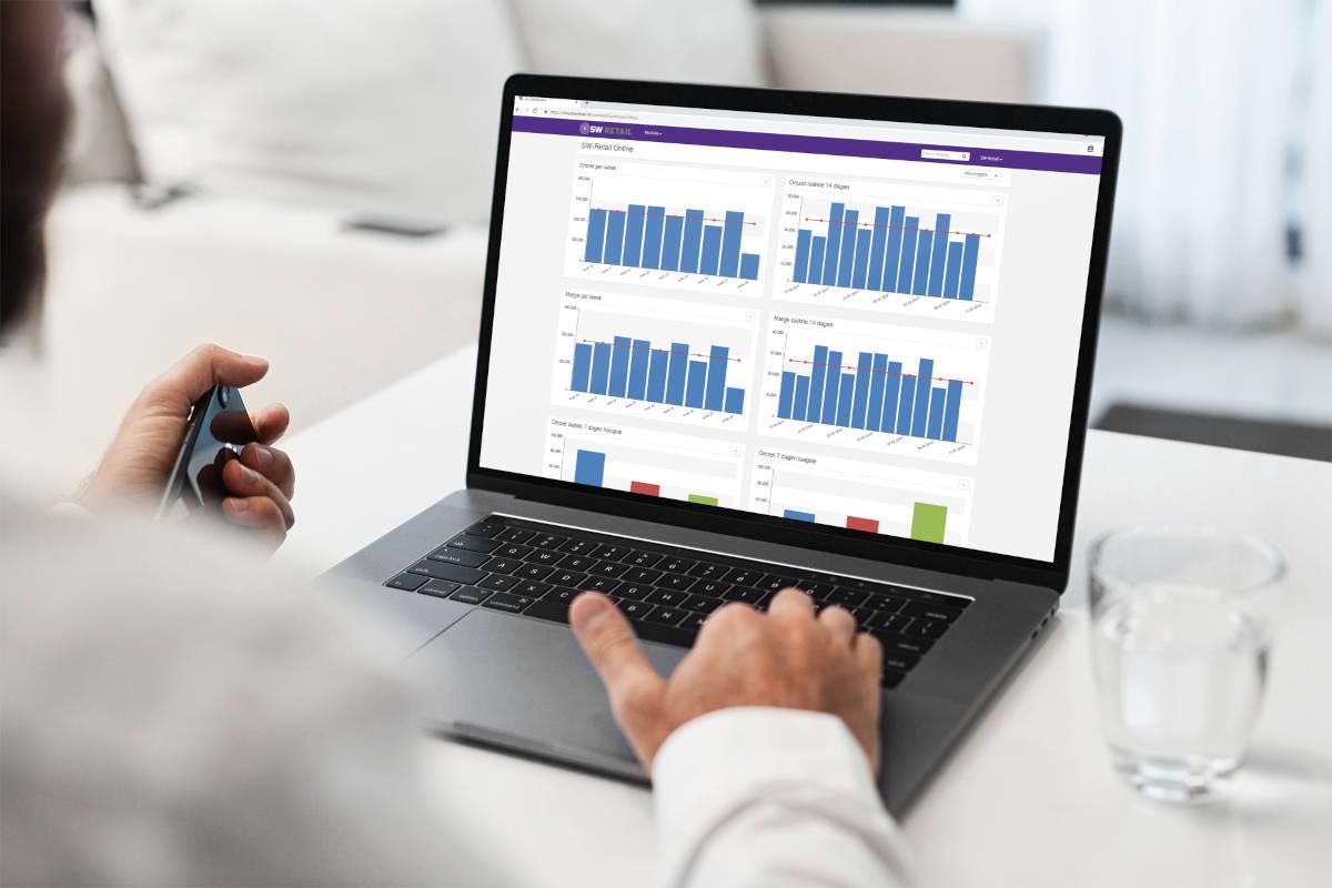 Ondernemer bekijkt op laptop voorraad cijfers in grafieken van het SW-Retail voorraadbeheersysteem