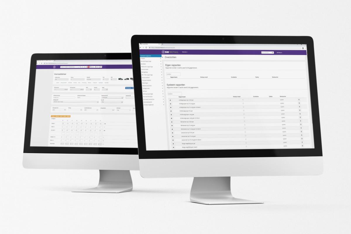 Voorbeelden van rapporten en voorraadbeheer in 2 desktops