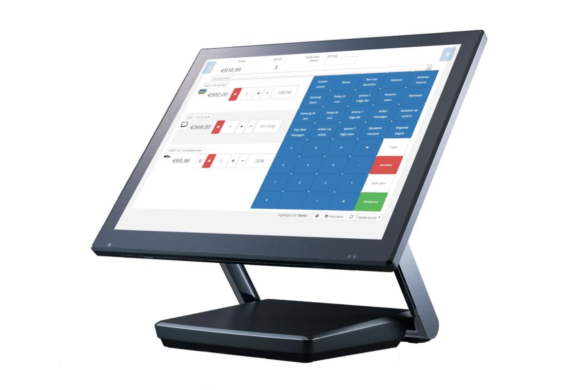 Kassa op voet met de kassa layout van de SW-Retail kassasoftware