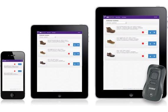 Voorbeeld van artikelboeker op tablet en mobiel met scanner, om direct vanuit je winkel artikelen te scannen voor je voorraadbeheer