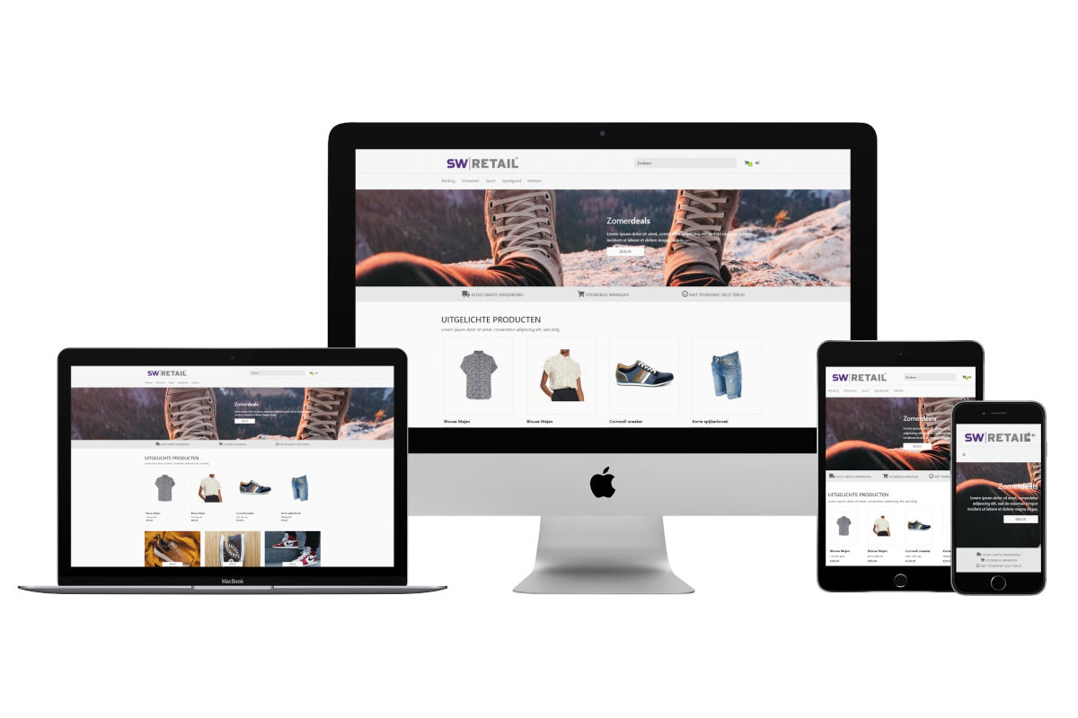 Voorbeeld SW-Retail webshop thema in desktop, laptop, tablet en mobiel variant