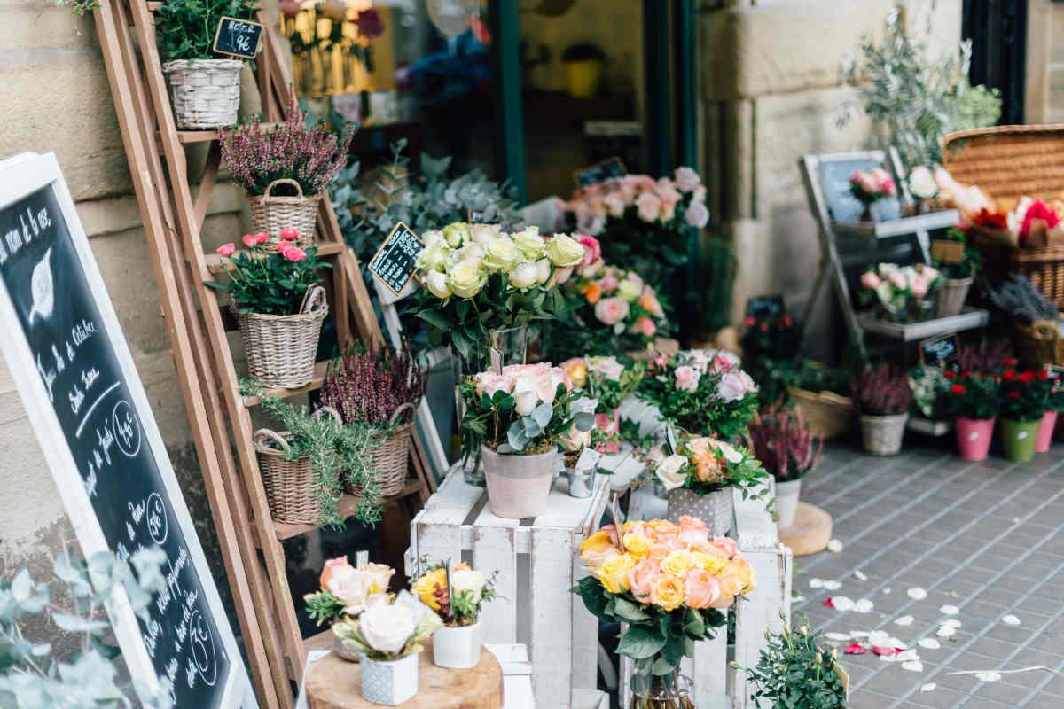 Uitstalling van bloemen en planten voor een huis & tuinwinkel