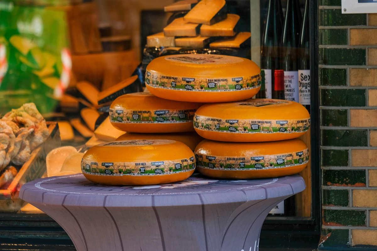 Kaaswielen op een tafel buiten bij een kaas voedingsspeciaalzaak