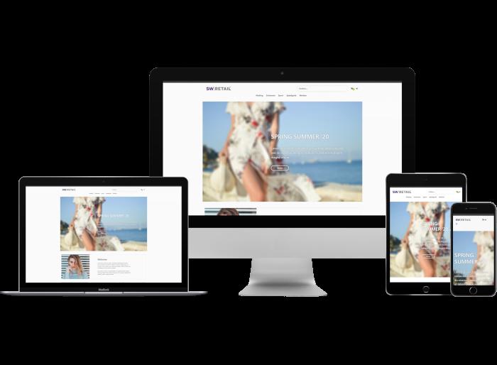 Voorbeeld SW-Retail webshop in desktop, laptop, tablet en mobiel variant