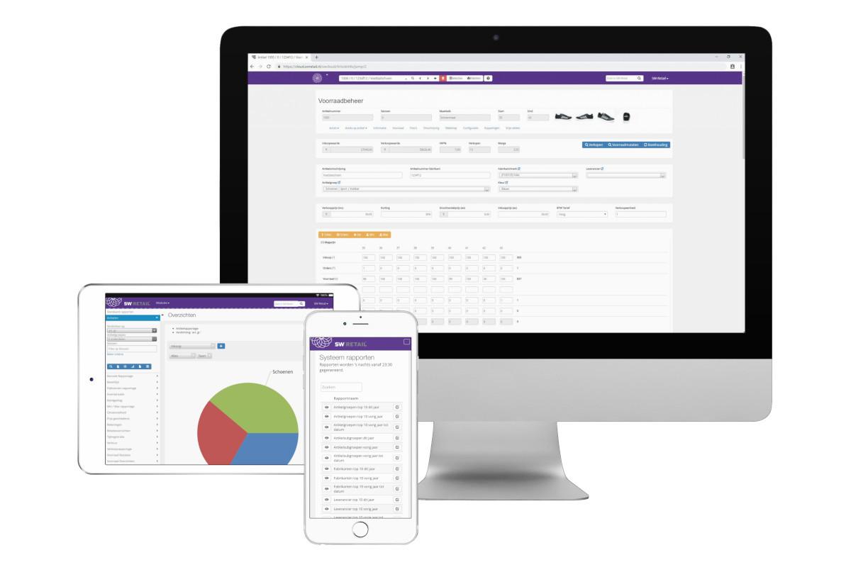 Voorbeeld van voorraadbeheer op desktop, rapportages vanuit het voorraadbeheersysteem op tablet en overzichten op mobiel