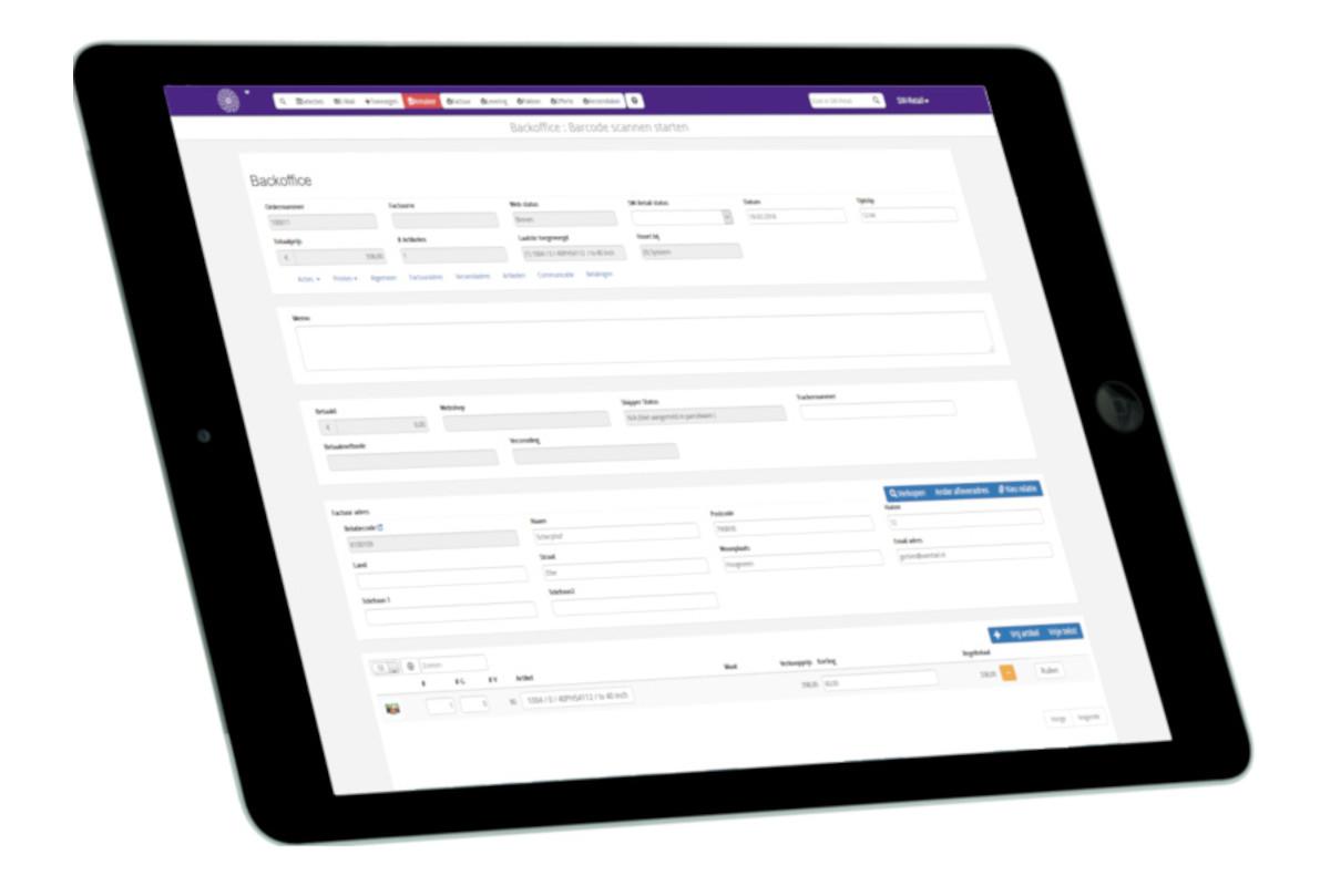 Voorbeeld van backoffice in het SW-Retail kassasysteem voor WooCommerce op tablet