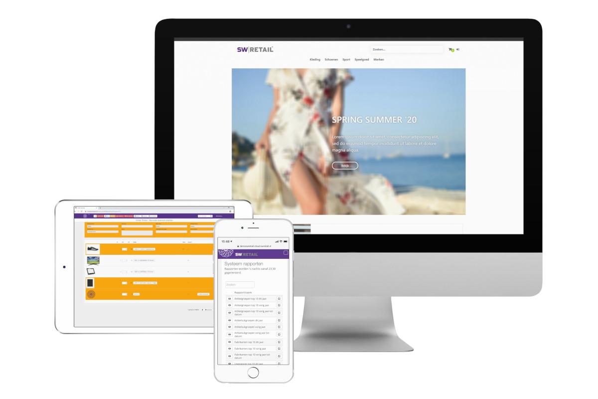 Desktop met voorbeeld webshop, orderpicker op tablet en rapportages op mobiel