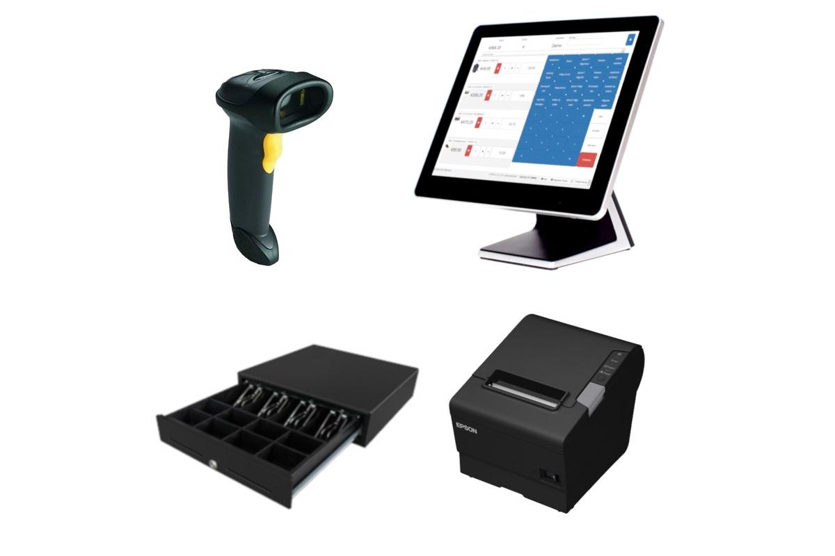 Kassahardware barcode scanner, kassa, geldlade, bonprinter