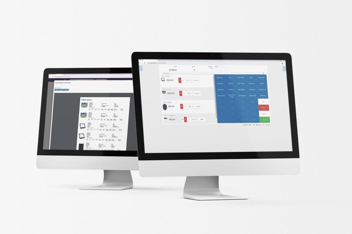Een monitor met een artikelrapport en een monitor met een kassa