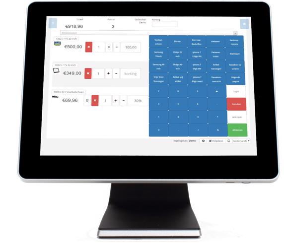 SW-Retail kassasysteem op touchscreen pc