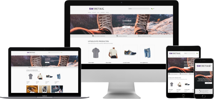 SW-Retail webshop op desktop, laptop, tablet en mobiel