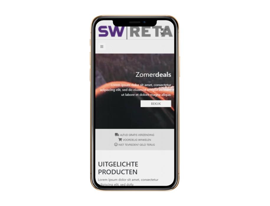 Voorbeeld responsieve thema Relax op mobiel/iPhone