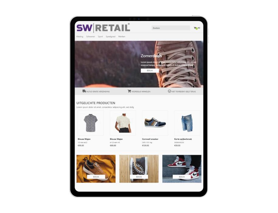Voorbeeld responsieve thema Relax op tablet/iPad