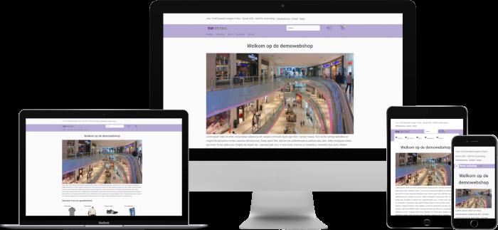 Voorbeeld responsieve thema SW-Retail op desktop/iMac, laptop/Macbook, tablet/iPad en mobiel/iPhone