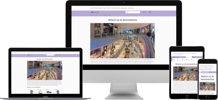 Voorbeeld responsieve webshop in verschillende devices
