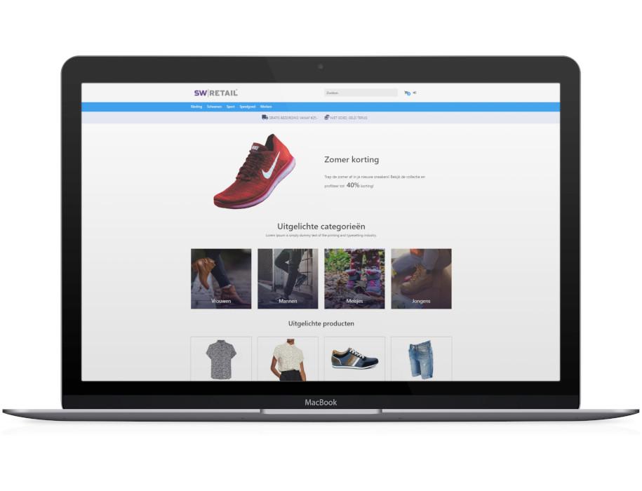 Voorbeeld responsieve thema Suède op laptop/Macbook
