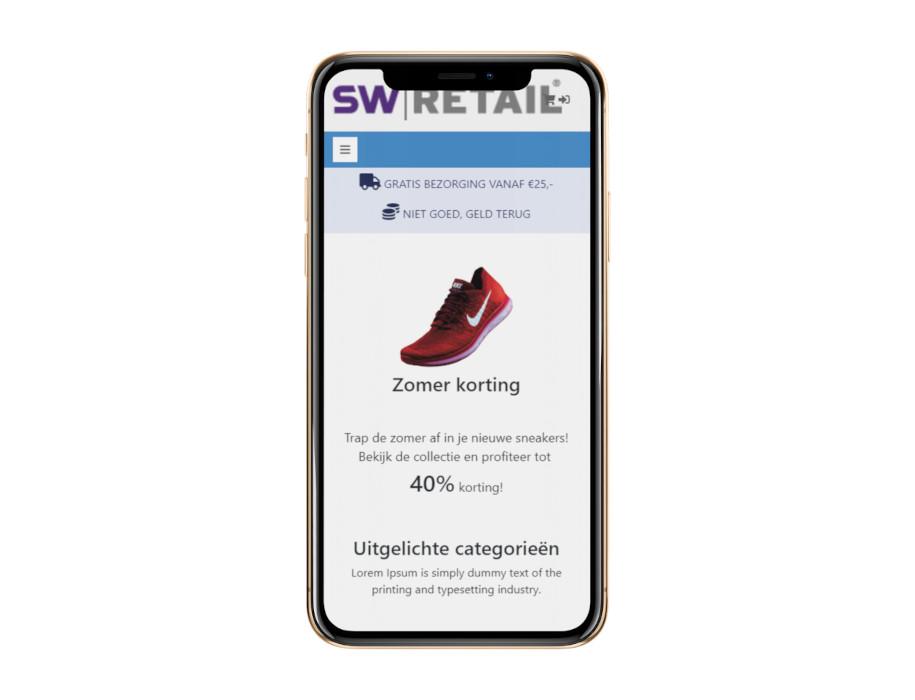 Voorbeeld responsieve thema Suède op mobiel/iPhone