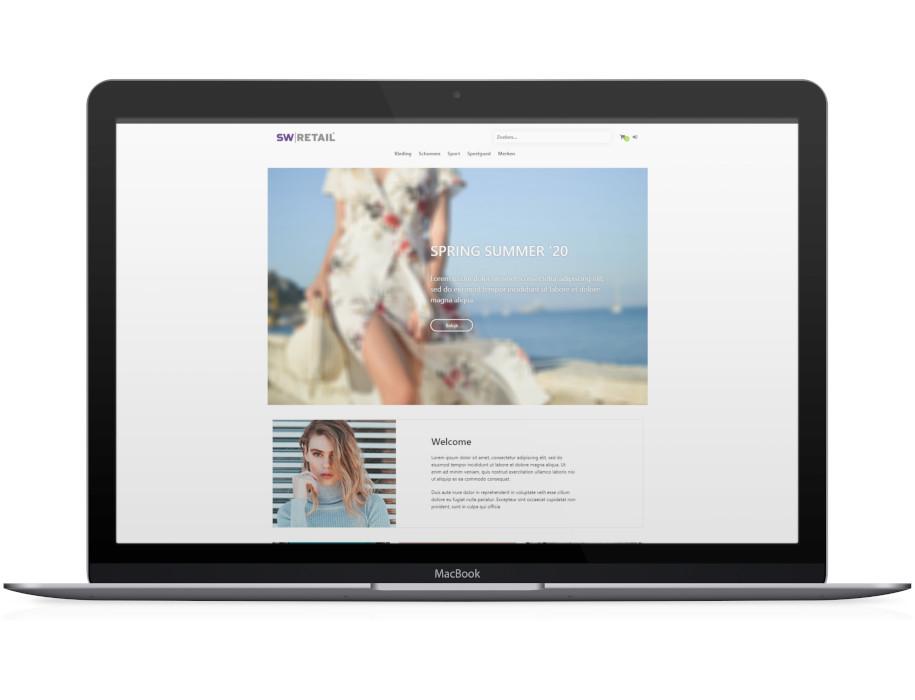 Voorbeeld responsieve thema Summer op laptop/Macbook