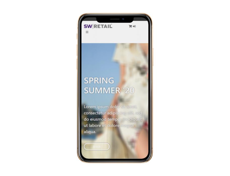 Voorbeeld responsieve thema Summer op mobiel/iPhone