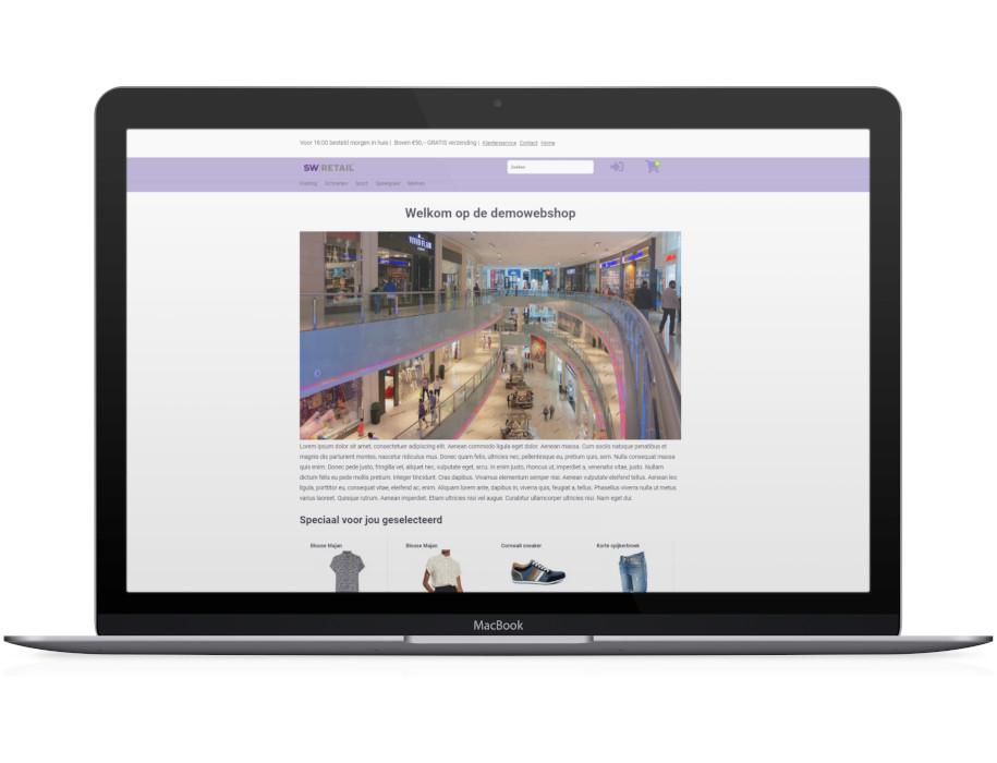 Voorbeeld responsieve thema SW-Retail op laptop/Macbook