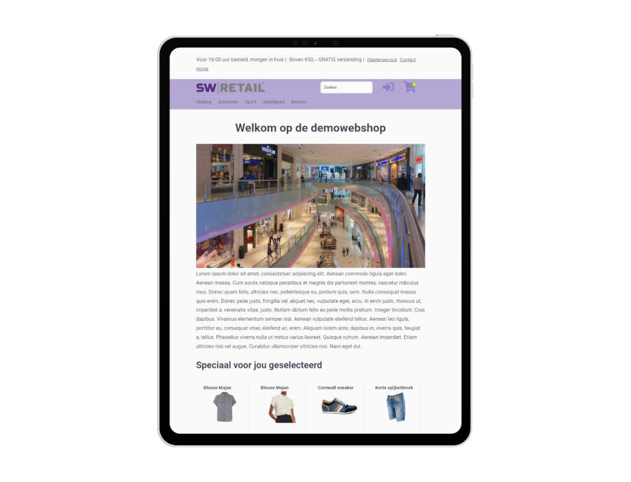 Voorbeeld responsieve thema SW-Retail op tablet/iPad