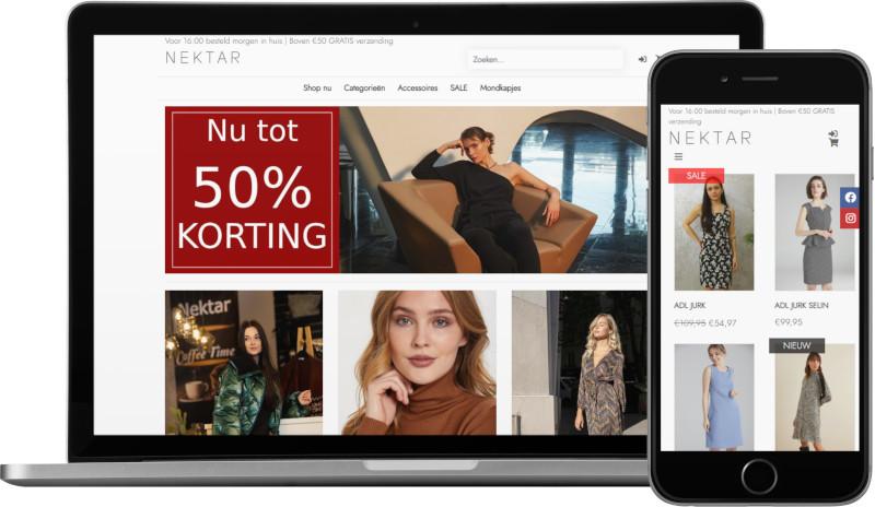 Voorbeeld webshop NEKTAR: homepage op laptop en artikeloverzicht mobiel