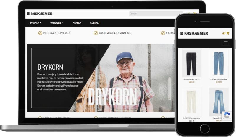 Voorbeeld webshop De Paskaemer: homepage op laptop en artikeloverzicht mobiel