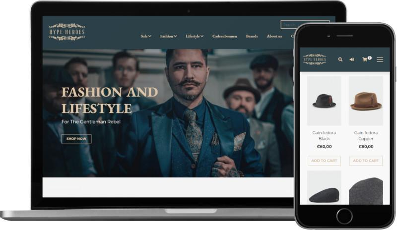 Voorbeeld webshop HYPE HEROES: homepage op laptop en artikeloverzicht mobiel