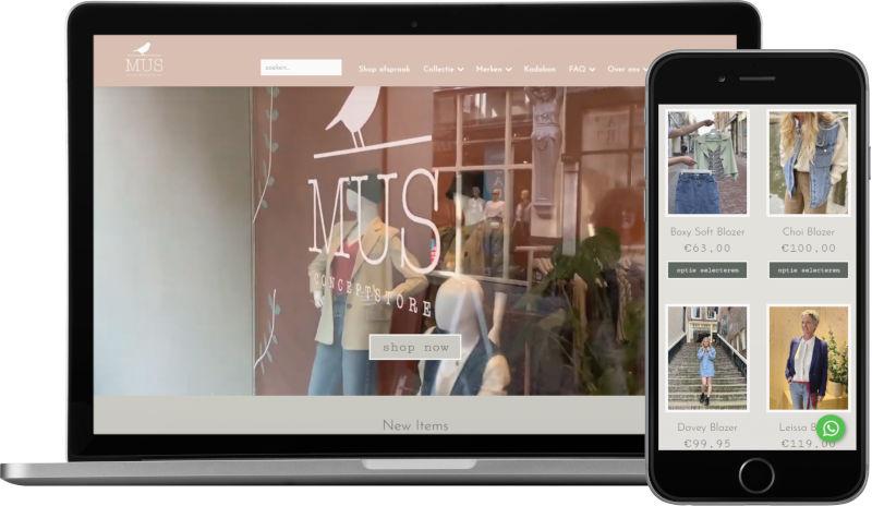 Voorbeeld webshop MUS conceptstore: homepage op laptop en artikeloverzicht mobiel