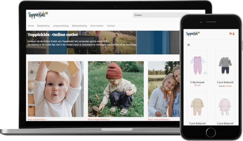 Voorbeeld webshop ToppieKids: homepage op laptop en artikeloverzicht mobiel
