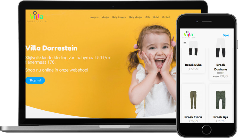 Voorbeeld webshop Villa Dorrestein: homepage op laptop en artikeloverzicht mobiel