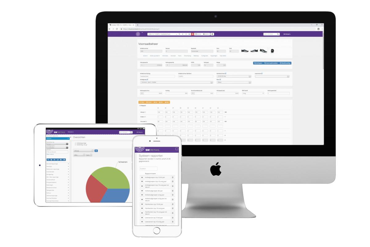 Voorbeeld van rapporten en functies in het systeem in desktop, laptop en mobiel